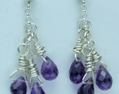 Amethyst Briolettes and Sterling Silver Earrings February Birthstone