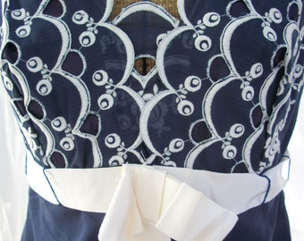 Amazing Navy Blue Dress with White Embroidered Cutouts ~ Scalloped Hem ~ Garden Party Chic