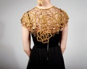 Vintage Beaded Shawl. Gold and Black Beaded Collar