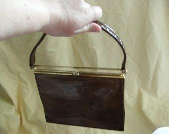 Original Vintage 1960s Elbeif Brown Patent Handbag