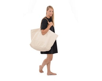 Oversized Black Canvas and Leather Tote Large Weekender