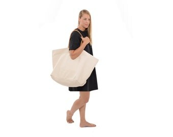 Classic Beige Over the Shoulder Bag, Cream Colored Canvas and Leather Tote, Eco Friendly Oversized Shopping Bag, Large Weekender Travel Bag