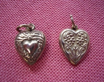 Rare Double Sided Sterling Silver Heart Charms