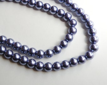 Violet grape purple glass pearl beads round 10mm full strand 9880GL