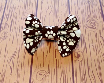 Paw Print Bow Tie Dog Collar Accessory