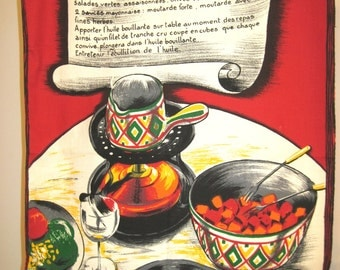 Vintage French tea towel fondue chef kitchen recipe red and green
