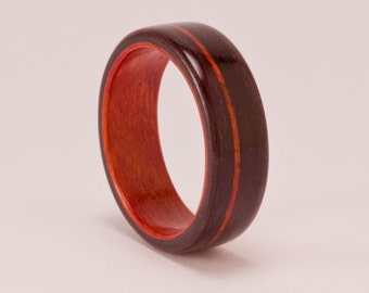 East Indian Rosewood featuring Redheart Liner and Offset Inlay - Bentwood Ring - And We Plant A Tree:)