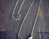 Sterling Silver Chevron Arrow Necklace - Geometric Silver and Copper Riveted Pendant
