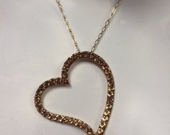 Large heart Pendant Gold  Plated Made with light colorado(champagne) swarovski Crystals