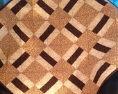 """Tiny Polka Dots and A Mini Camo Print In Cream, Tan and Brown All Together In This 31.5"""" X 31.5"""" Quilt For Baby"""