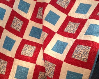 """Red, Blue and White Combine Adorably In This 39"""" X 45"""" Quilt"""