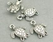 Turtle Charms 3D Antique Silver 8pcs pendant beads 13X16mm CM0459S