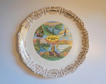 Washington State Vintage Souvenir Plate - Floyd Jones Vintage