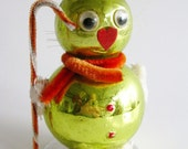 Vintage 50s Christmas Ball Ornament Kitty Cat Chenille Pipe Cleaner Figurine Japan