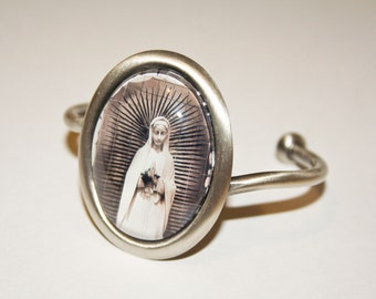 Virgin Mary Bracelet Photography On Antiqued silver wearable art