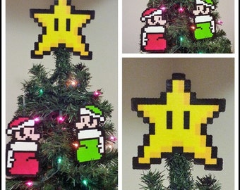 Super Mario Bros. Perler Bead Star Christmas Tree Topper and Ornament Set (3 Piece) - luigi - mario - nintendo