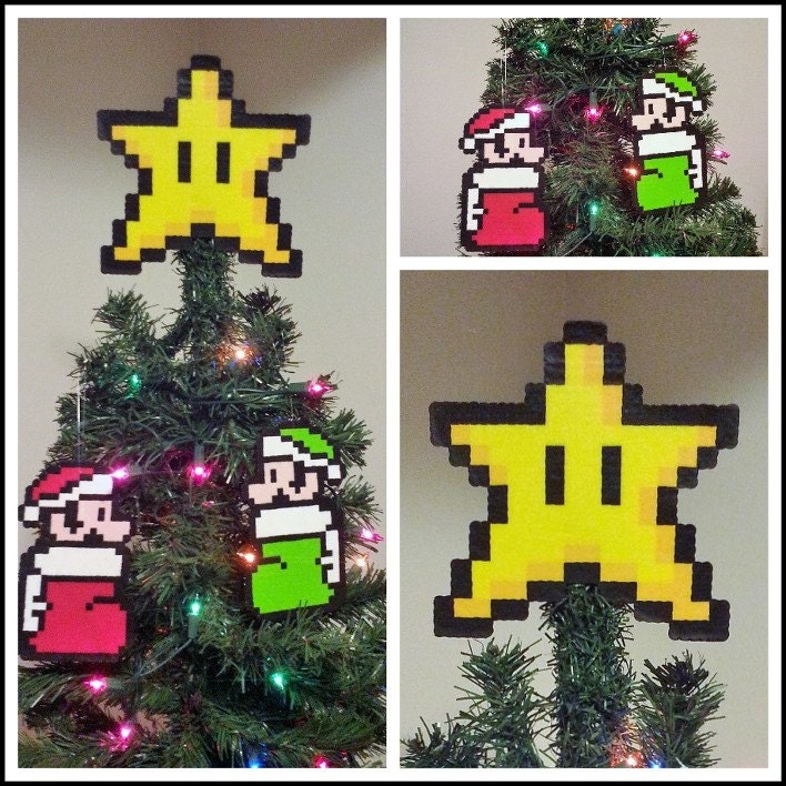 Super Mario Bros Perler Bead Star Christmas Tree Topper And