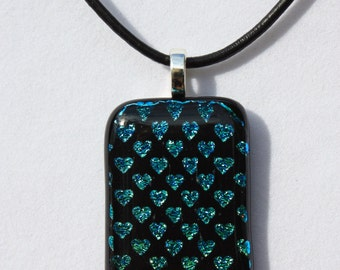 Blue Green Dichroic Hearts Fused Glass Pendant, Dichroic Pendant, Fused Glass Jewelry, Fused Glass Necklace
