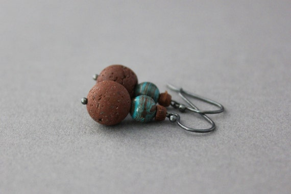 lava rock earrings brown and blue jasper dangle earrings rustic earthy