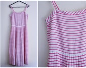 RESERVED Red and White Striped Dress - nautical, thin strap, accordion pleats, casual day dress, larger small - medium, US 6 UK 10