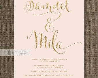 Blush Pink & Gold Wedding Invitation Gold Glitter Modern Script Names Classic Glam FREE PRIORITY SHIPPING or DiY Printable - Mila