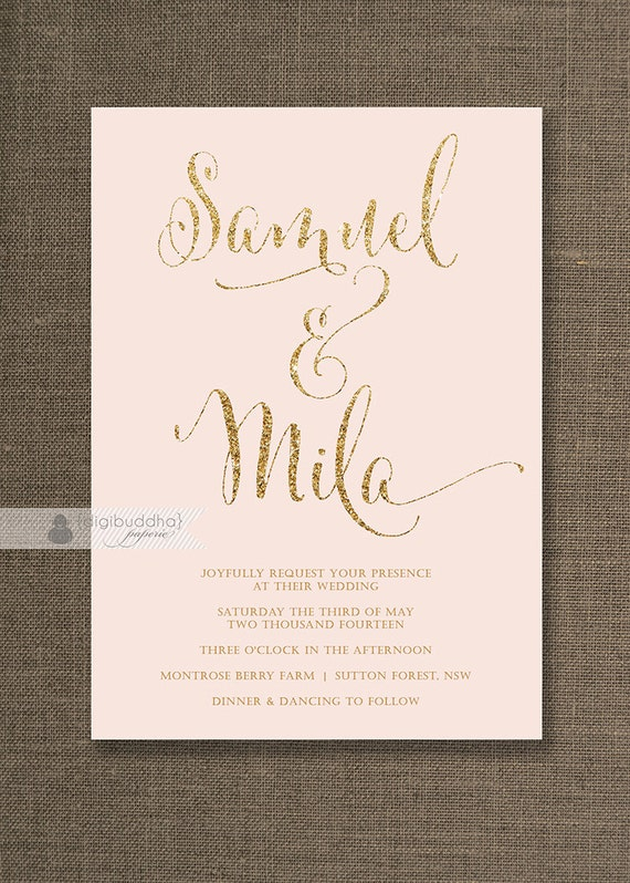 blush pink & gold wedding invitation gold glitter modern, Wedding invitations