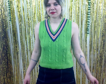 90s Lime Green Sweater Vest / Clueless / Grunge / Slime Green /