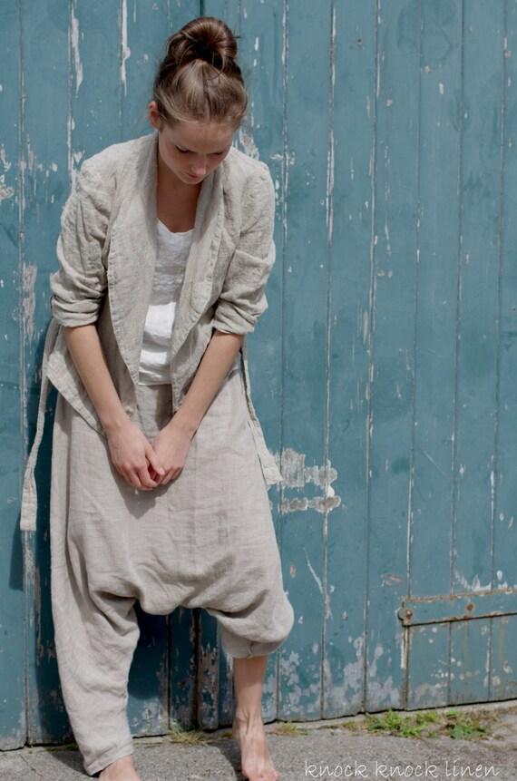 Linen Sarouel Harem Pants Trousers Unisex