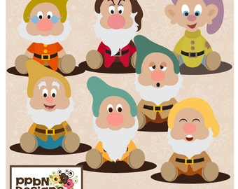 Cute Dwarfs Digital Clipart Set
