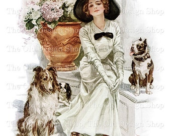Harrison Fisher Art Woman Posing with Dogs Vintage Printable Digital Download JPG Image