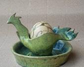 Easter chicken . Ceramic pot for serving egg, Ester decoration.