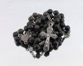 French Catholic Rosary with Dark Brown Wood Beads (AP)