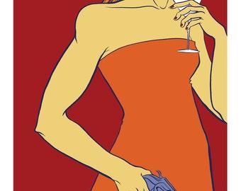 Female Assassin in Orange Illustration Art Print - 8 x 10