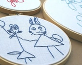 Custom kids embroidered art / 5 inch diameter size / artist embroidery / childrens art / cute drawings