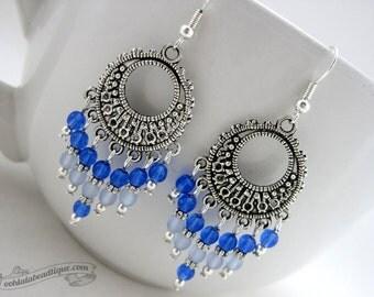 Blue chandelier earrings, Boho earrings, Hippie jewelry, Gypsy earrings, birthstone jewelry, long earrings, blue glass jewelry blue earrings