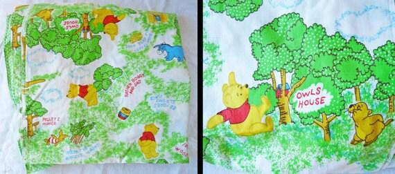Winnie The Pooh Nursery Curtains 1970s Childrens Room Kawaii