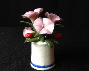 Franklin Porcelain Miniature Vase with Petunias from Flower of the Year 1981 Collection