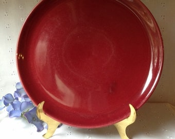 Vintage Pottery Burgundy Luncheon Plate Marked decorama