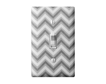 Chevron Light Switch Plate Cover / Gray and White / Gender Neutral Baby Girl Boy Nursery Decor / Kids Room /  Organic Fabric