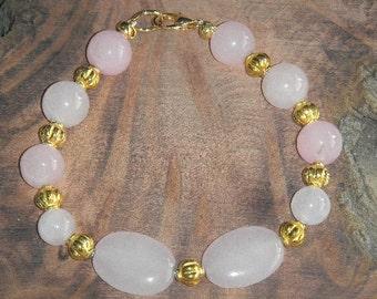 Clearance Brazilian Pink Topaz & Rose Quartz Bracelet Average Wrist 2 Shades of Pink Calming Stones Healing and Forgiving Heart