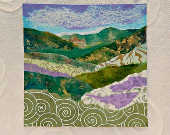 Original Landscape Torn Paper Landscape Collage Abstract Landscape Fine Art small 6x6 Home Decor
