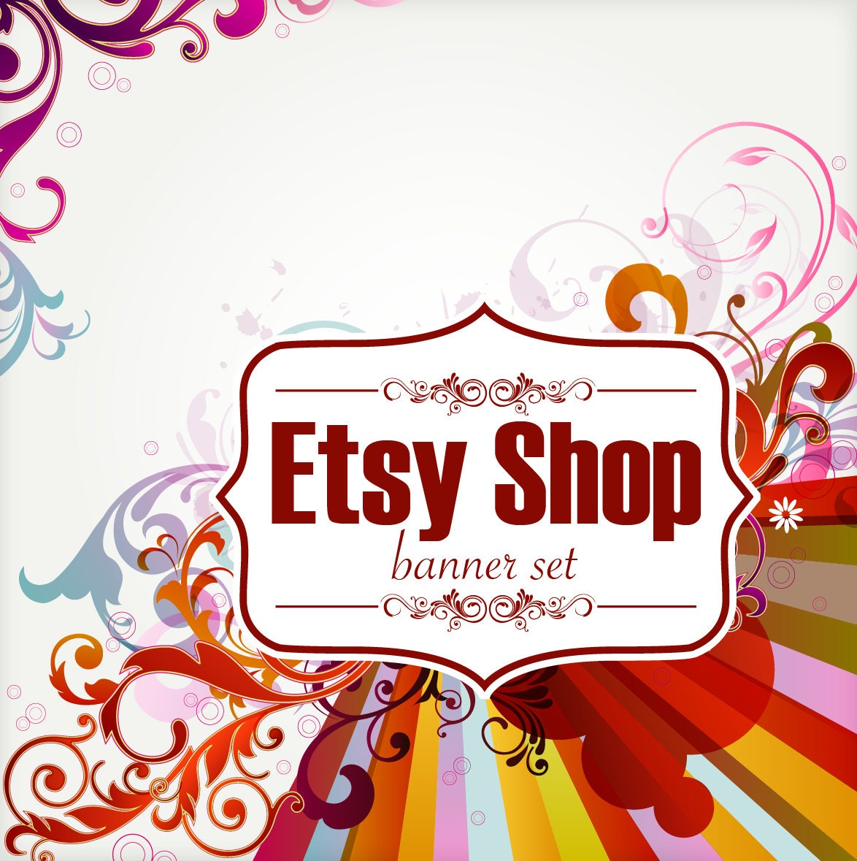 Shop Floral Monograms At Littlebrownnest Etsy Com: Etsy Shop Set 7 Piece Retro Floral Etsy Banner OOAK Logo Set