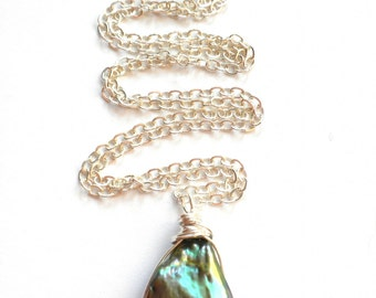 Sterling and Iridescent Gray Freshwater Pearl Pendant