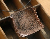 Square Copper Pendant Chain Copper Pendant Statement Necklace Cool Copper Necklace Edgy Necklace