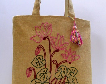 Embroidered Cyclamen flowers , handmade jute tote bag, summer jute Tote Bag, Beach Bag, carry all, Casual Tote Bag,