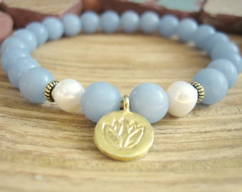 Lotus Bracelet - Angelite Bracelet with Gold Charm and Pearls, Pastel Blue Wrist Mala Beads, Yoga Bracelet
