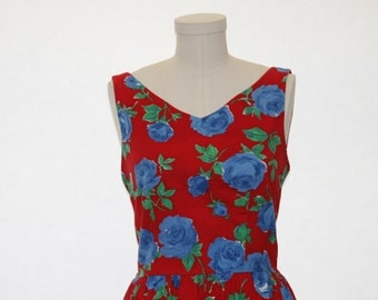Lanz Dress - Floral Summer Red Dress Ladies Size Small
