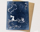 Starry Bunny Happy Birthday Card - Constellation and Dreaming