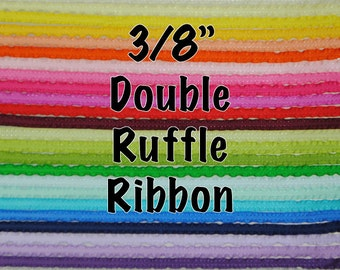 "3/8"" Double Ruffle Ribbon - Many Colors and Lengths!"