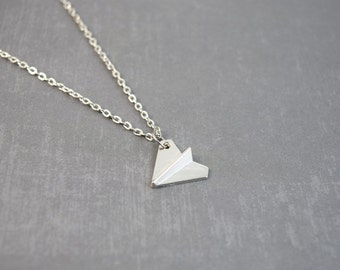 Silver Origami Necklace - Paper Airplane Necklace - Paper Airplane Jewelry - Origami Necklace - 3D Necklace - Airplane Jewelry